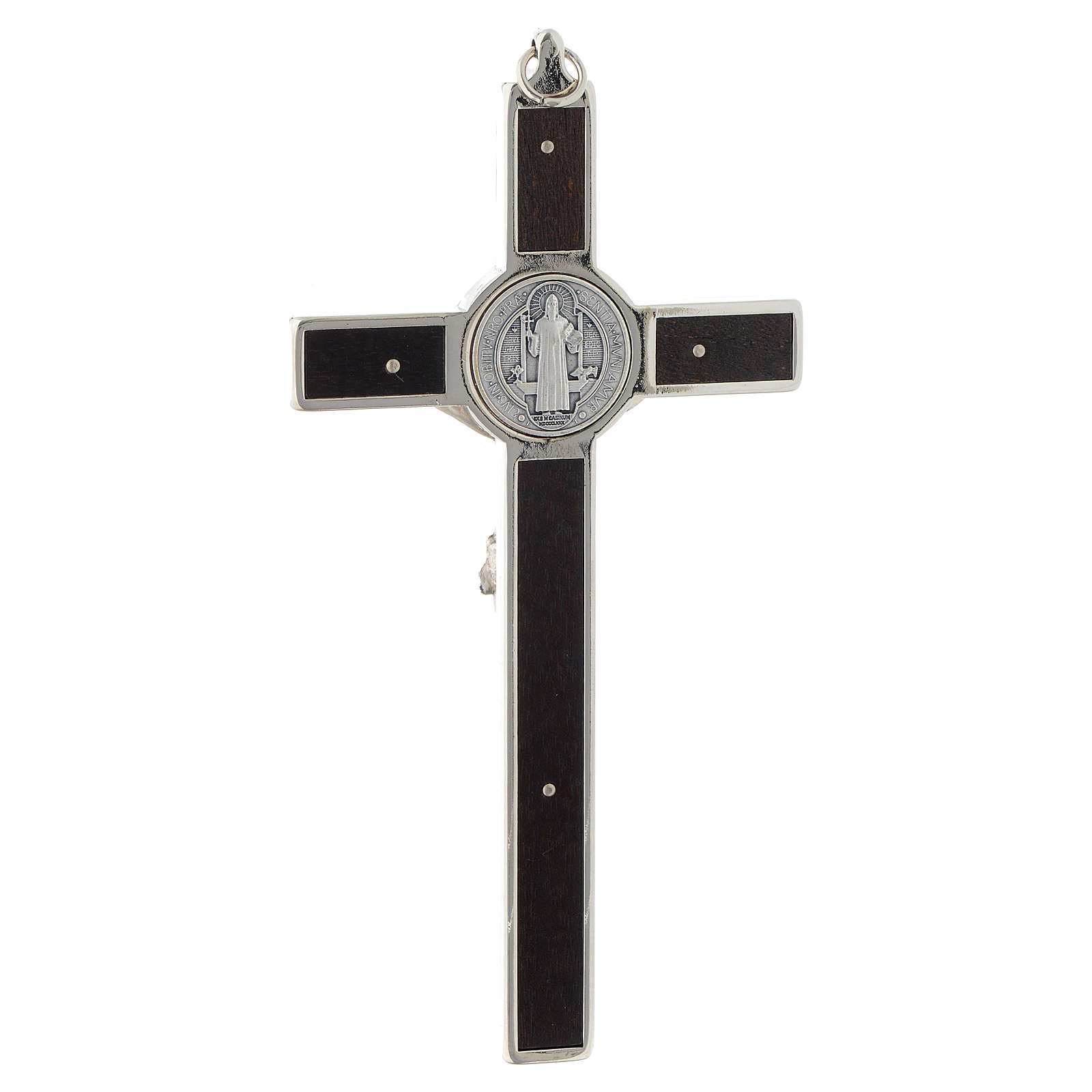 Saint Benedict inlayed wood cross 4