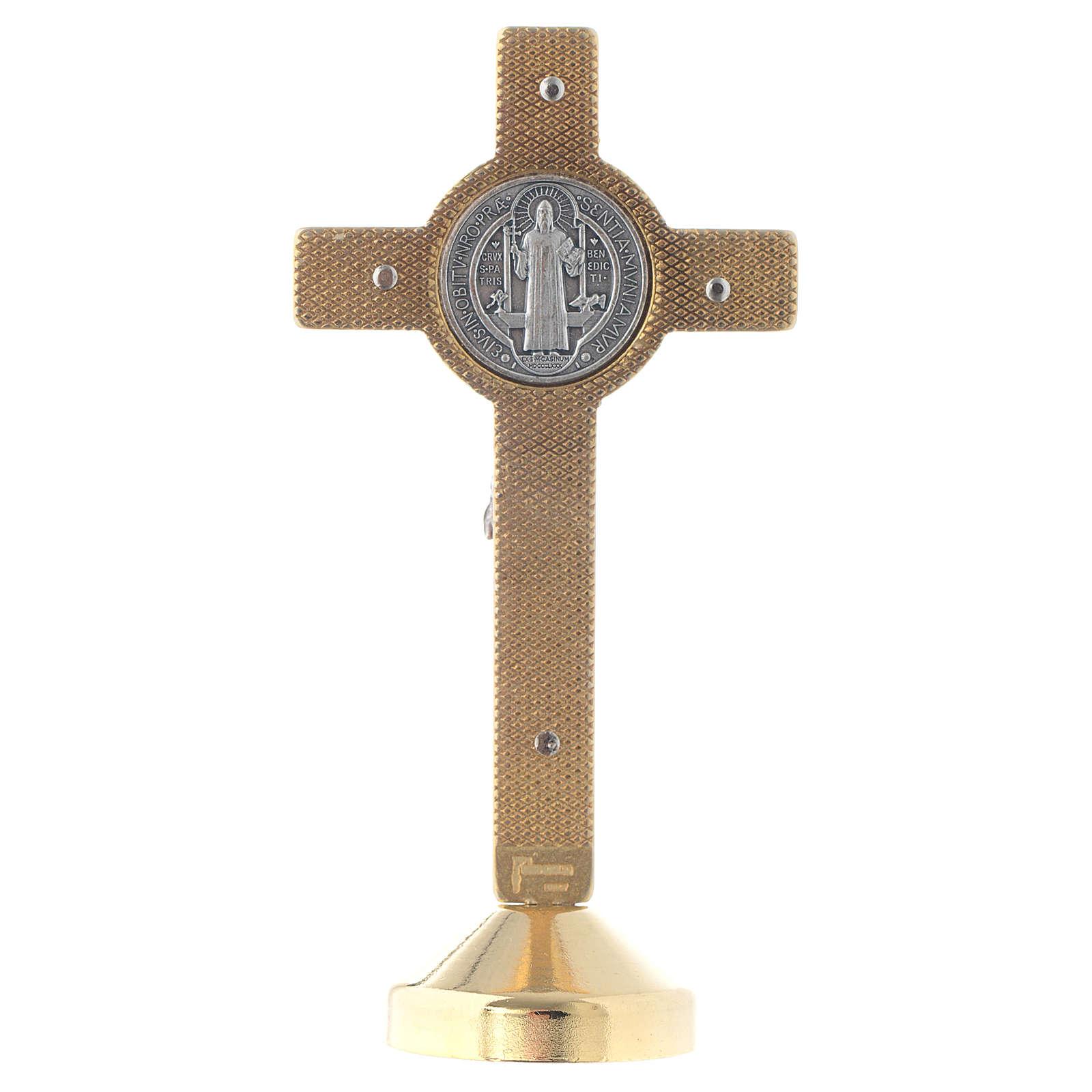 Croce metallo san Benedetto tavolo rosso 4