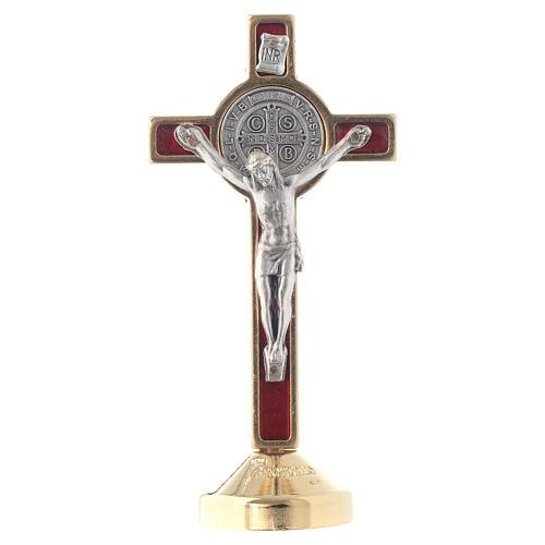 Croce metallo san Benedetto tavolo rosso 1