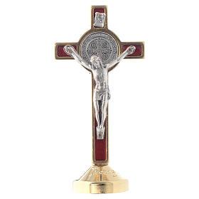 Cruz metal São Bento mesa vermelho