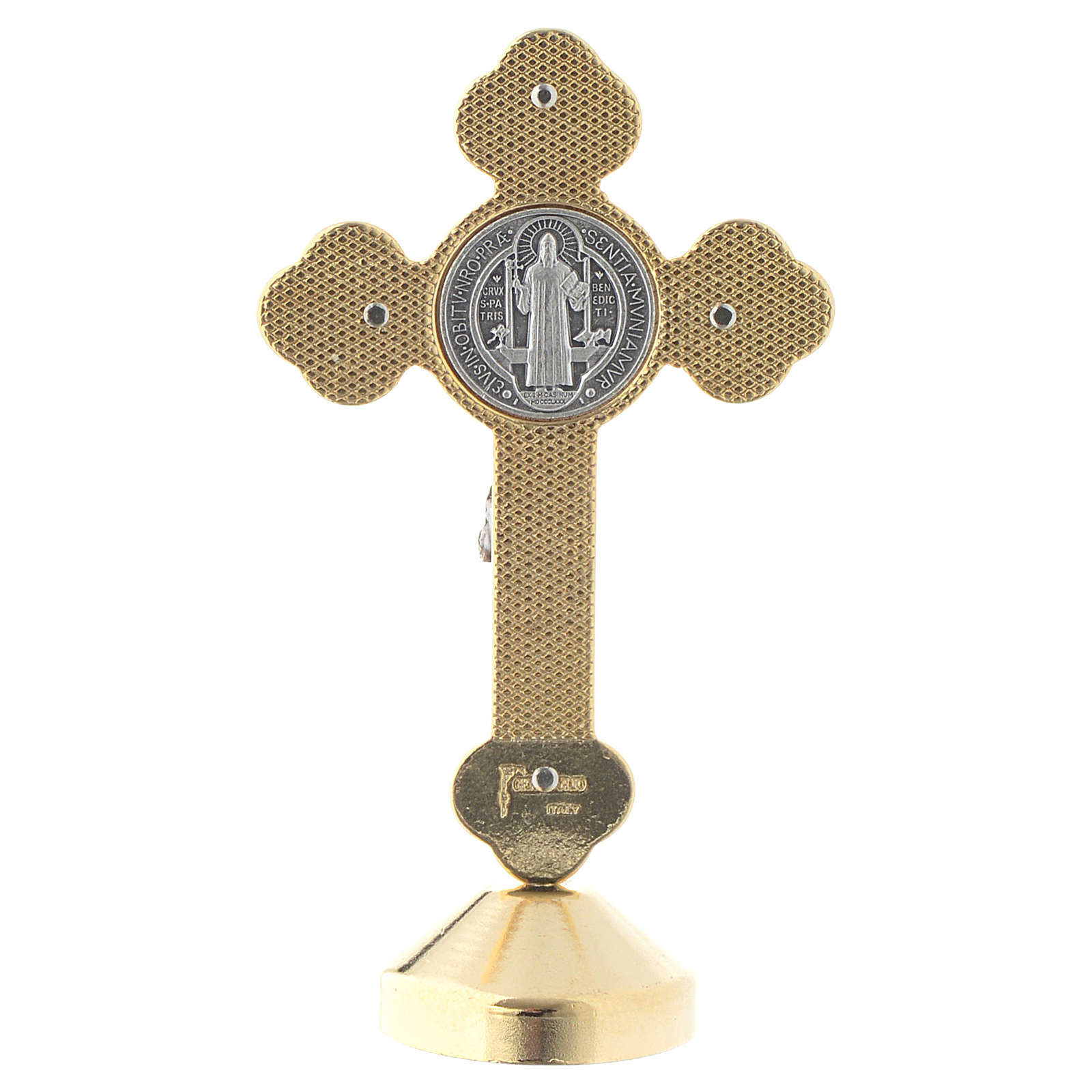 Saint Benedict gothic style red metal cross 4