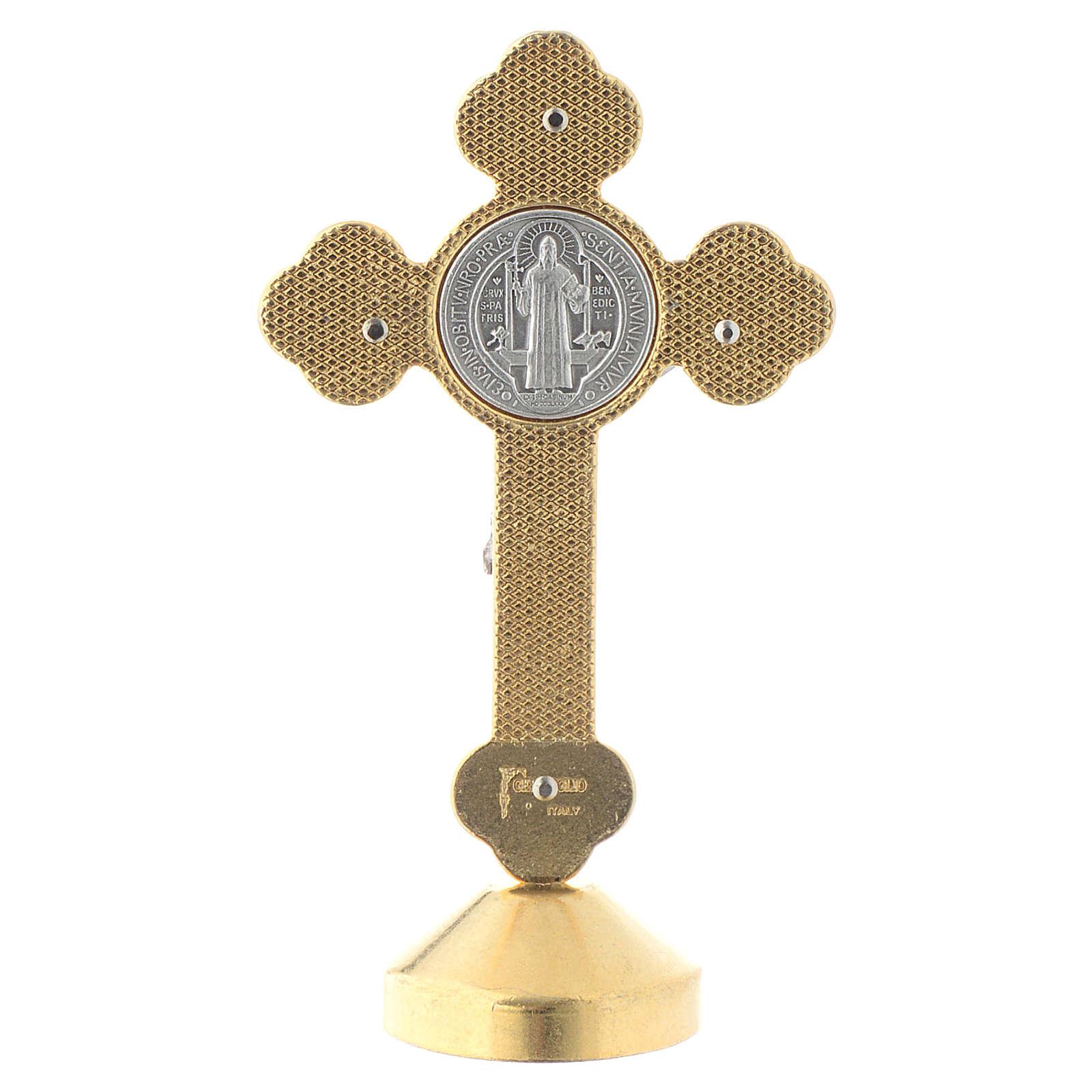 Croix de St. Benoît style gothique en métal bleue table 4