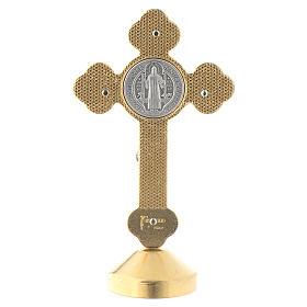 Croix de St. Benoît style gothique en métal bleue table s4