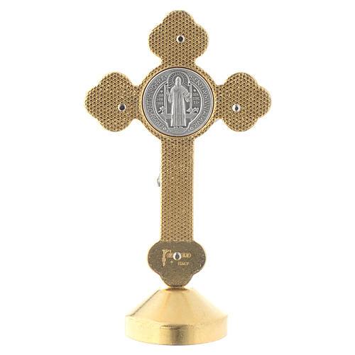 Croce san Benedetto tavolo metallo gotico blu 4