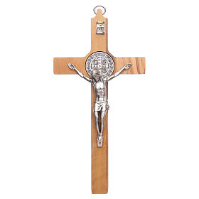 Olive wood Saint Benedict cross s1