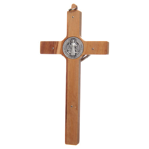 Olive wood Saint Benedict cross 2
