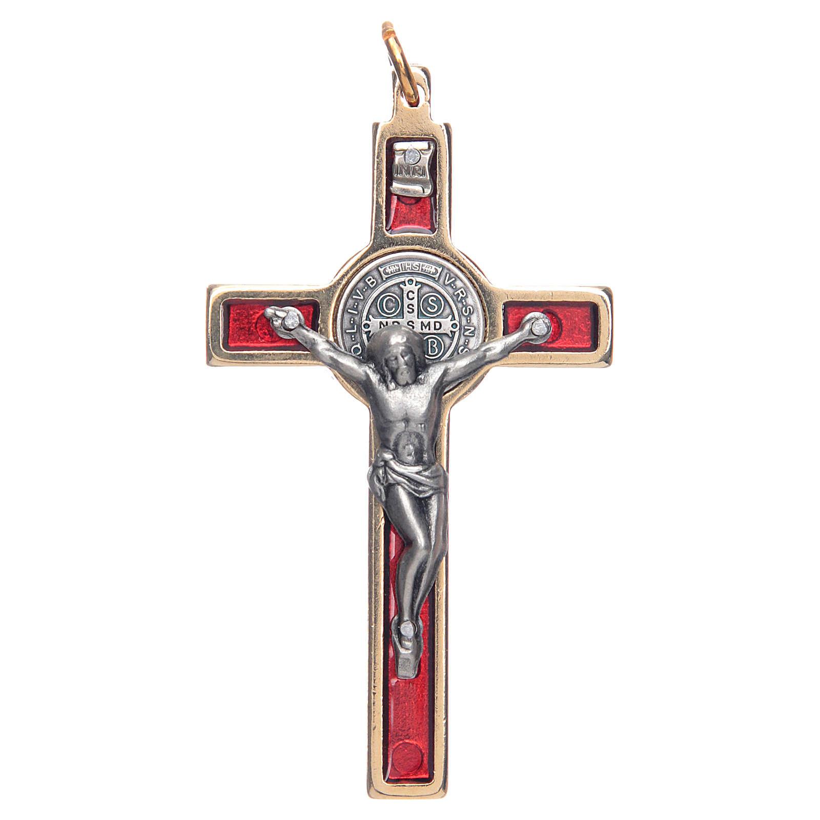 Collar Cruz San Benito rojo elegante 4