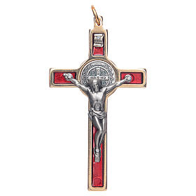 Krzyżyk świętego Benedykta na szyję czerwony eleg s1