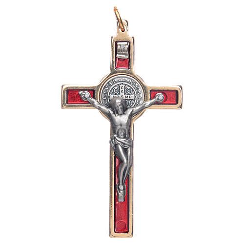 Krzyżyk świętego Benedykta na szyję czerwony eleg 1
