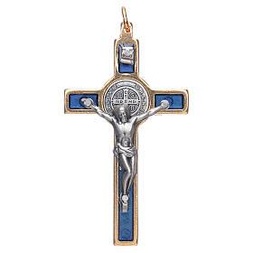 Cruces y medallas de San Benito: Collar Cruz San Benito azul elegante
