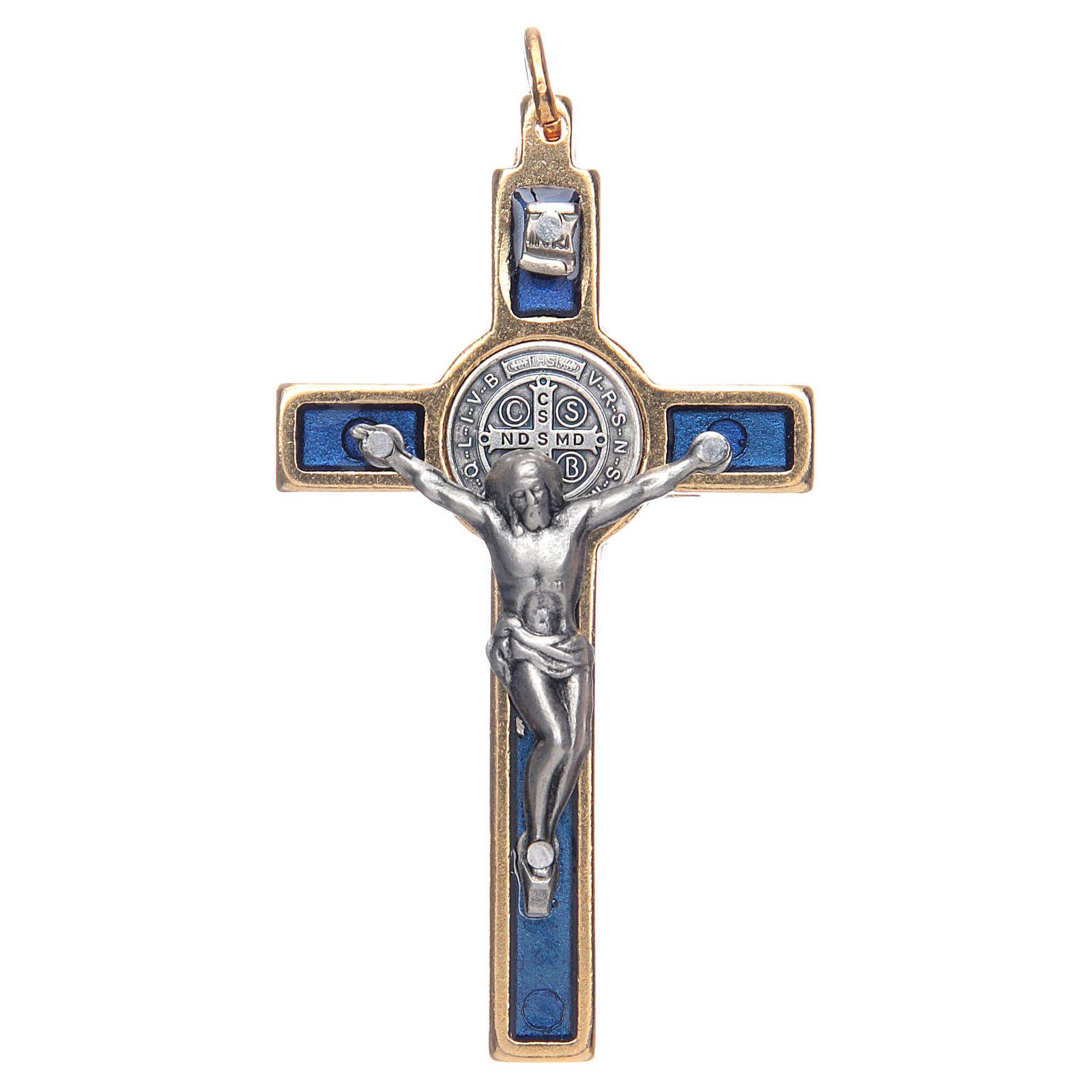 Krzyżyk św. Benedykta na szyję niebieski elegancki 4