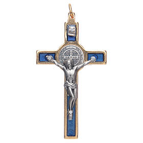Krzyżyk św. Benedykta na szyję niebieski elegancki s1