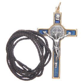 Krzyżyk św. Benedykta na szyję niebieski elegancki s3