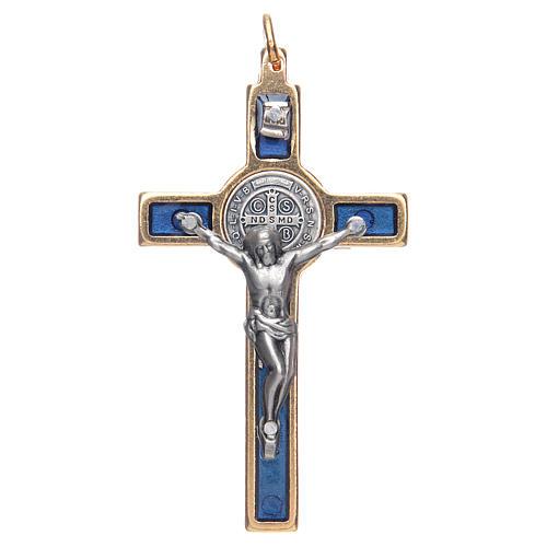 Krzyżyk św. Benedykta na szyję niebieski elegancki 1