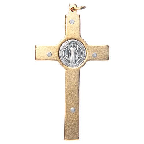 Krzyżyk św. Benedykta na szyję niebieski elegancki 2