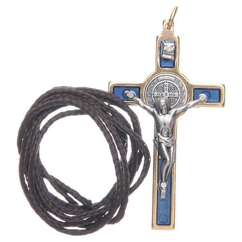 Krzyżyk św. Benedykta na szyję niebieski elegancki 3