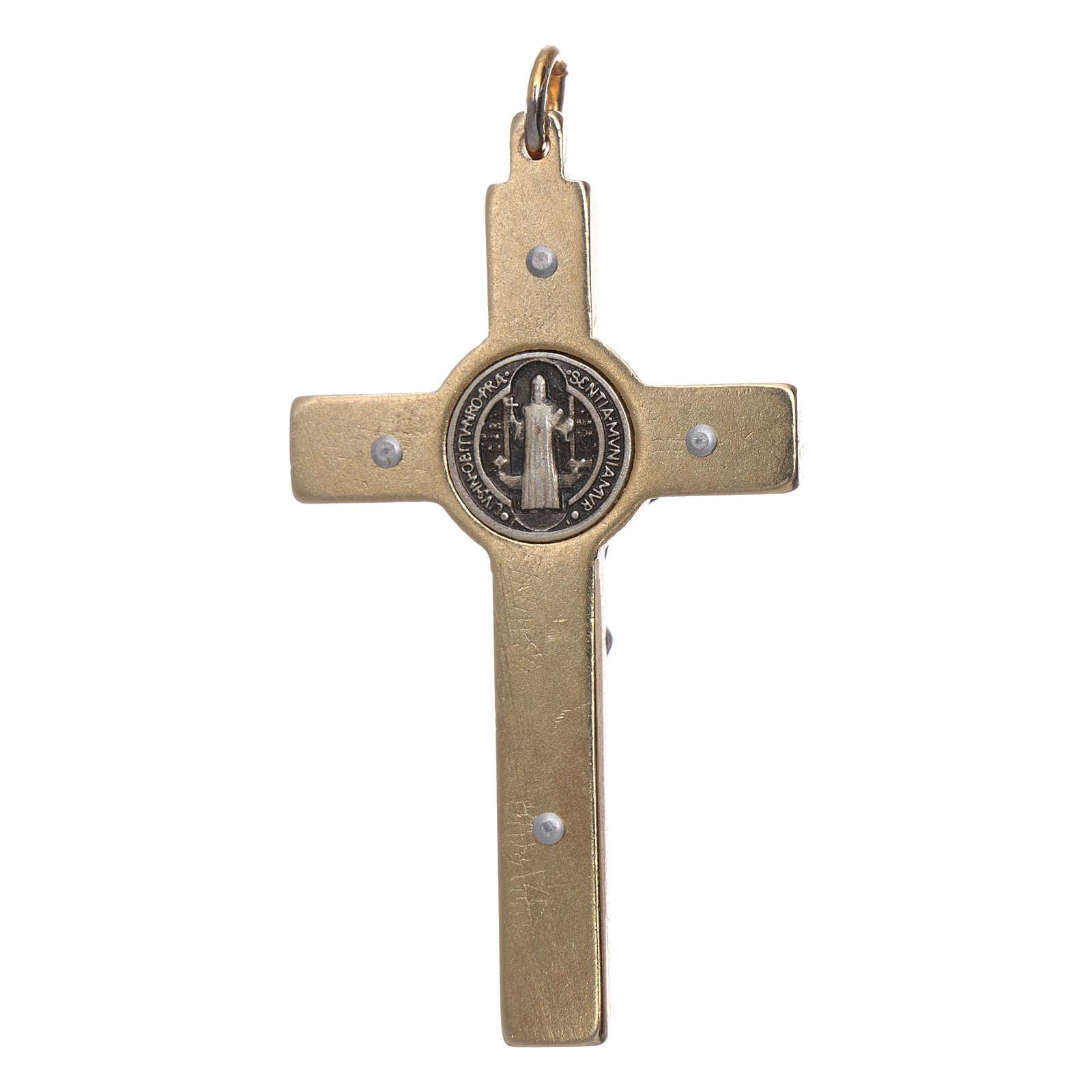 Collar Cruz San Benito fosforescente dorada 4