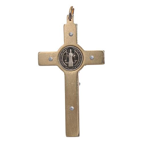 Collar Cruz San Benito fosforescente dorada 2