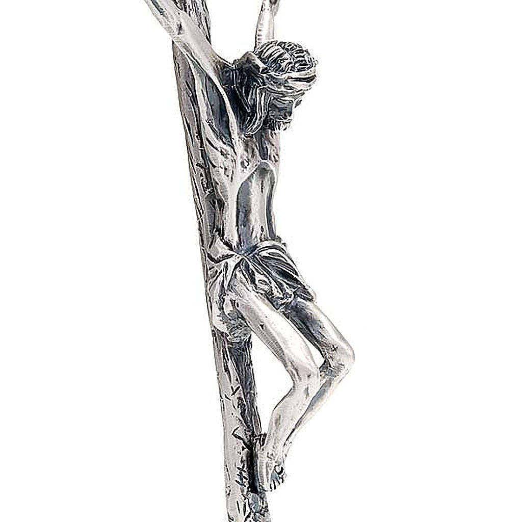 Croix pastorale Jean Paul II 38 cm argentée 4
