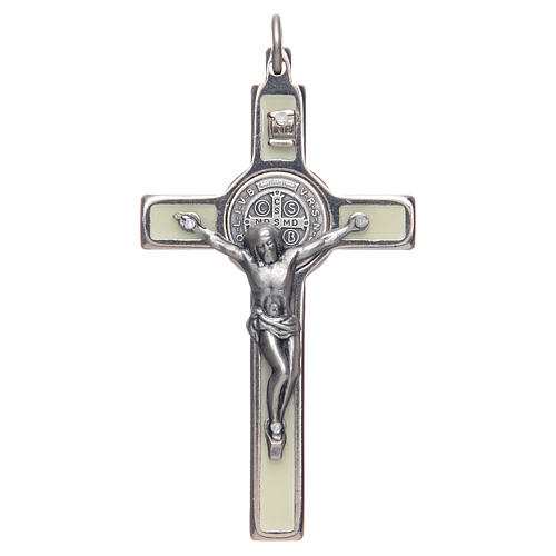 Halskette Heilig Benedictus fluoreszierend elegant Silber