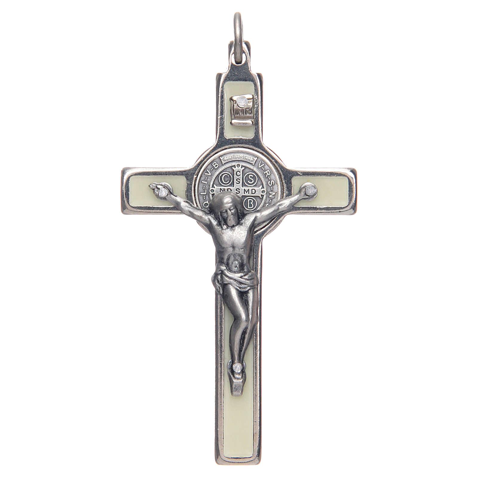Collana Croce san Benedetto fosforescente argentata 4