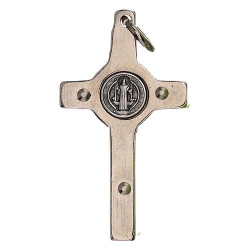 Collana Croce san Benedetto fosforescente argentata 5