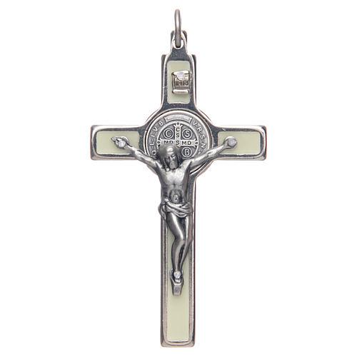 Collana Croce san Benedetto fosforescente argentata 1