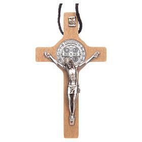 Collier croix St. Benoît bois naturel s1