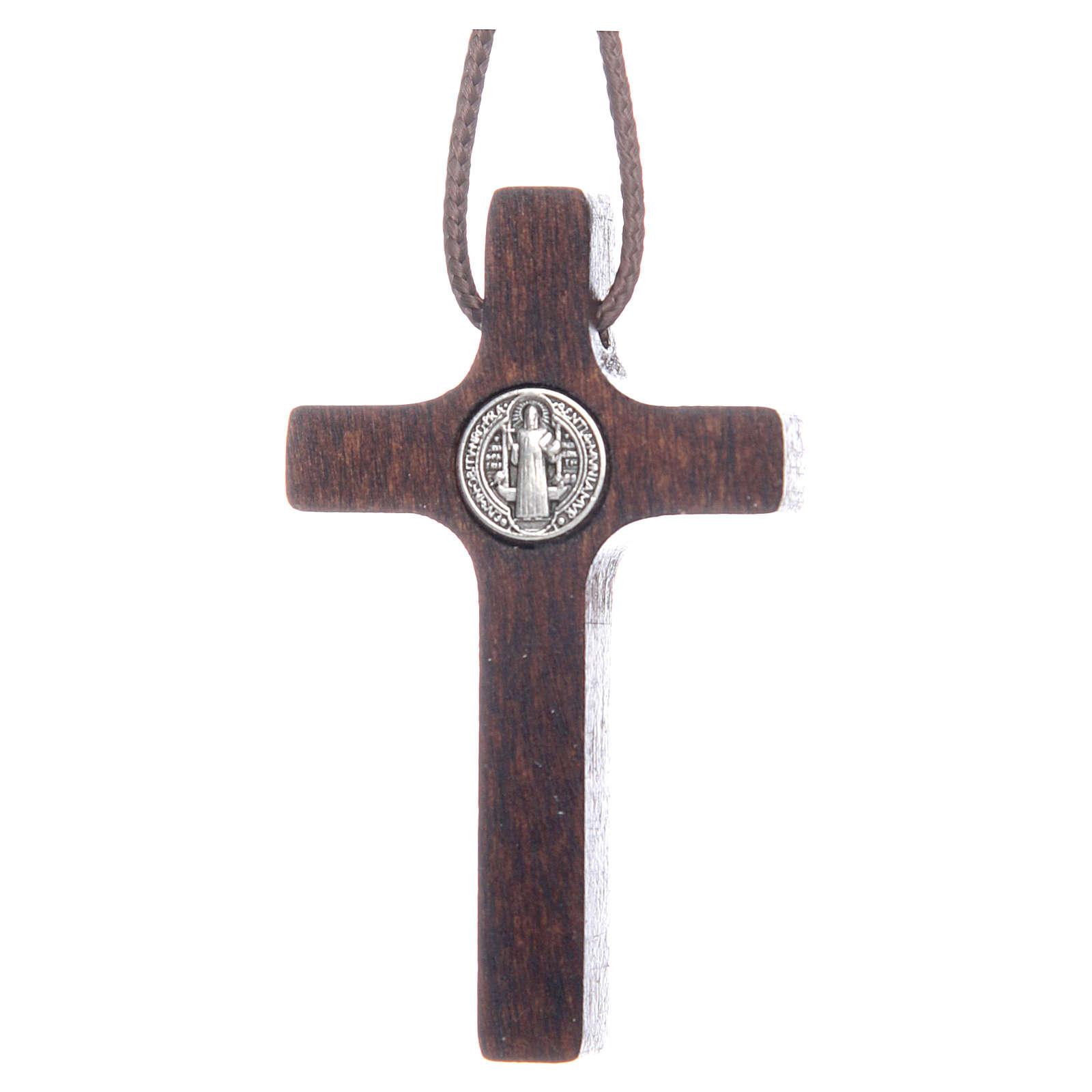 Saint Benedict cross pendant walnut wood effect 4