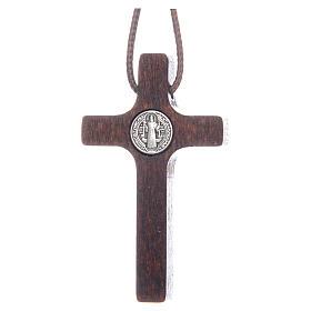 Saint Benedict cross pendant walnut wood effect s2