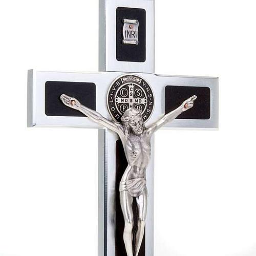 Croce San Benedetto Prestige intarsio legno con base 3