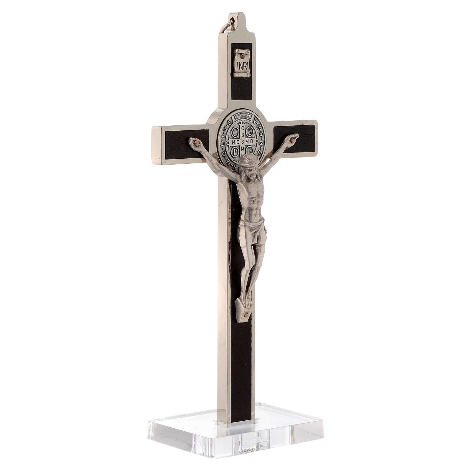 Croce  San Benedetto intarsio legno con base plexiglass 4