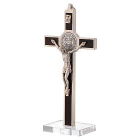 Cruz São Bento pedaço madeira com base acrílico
