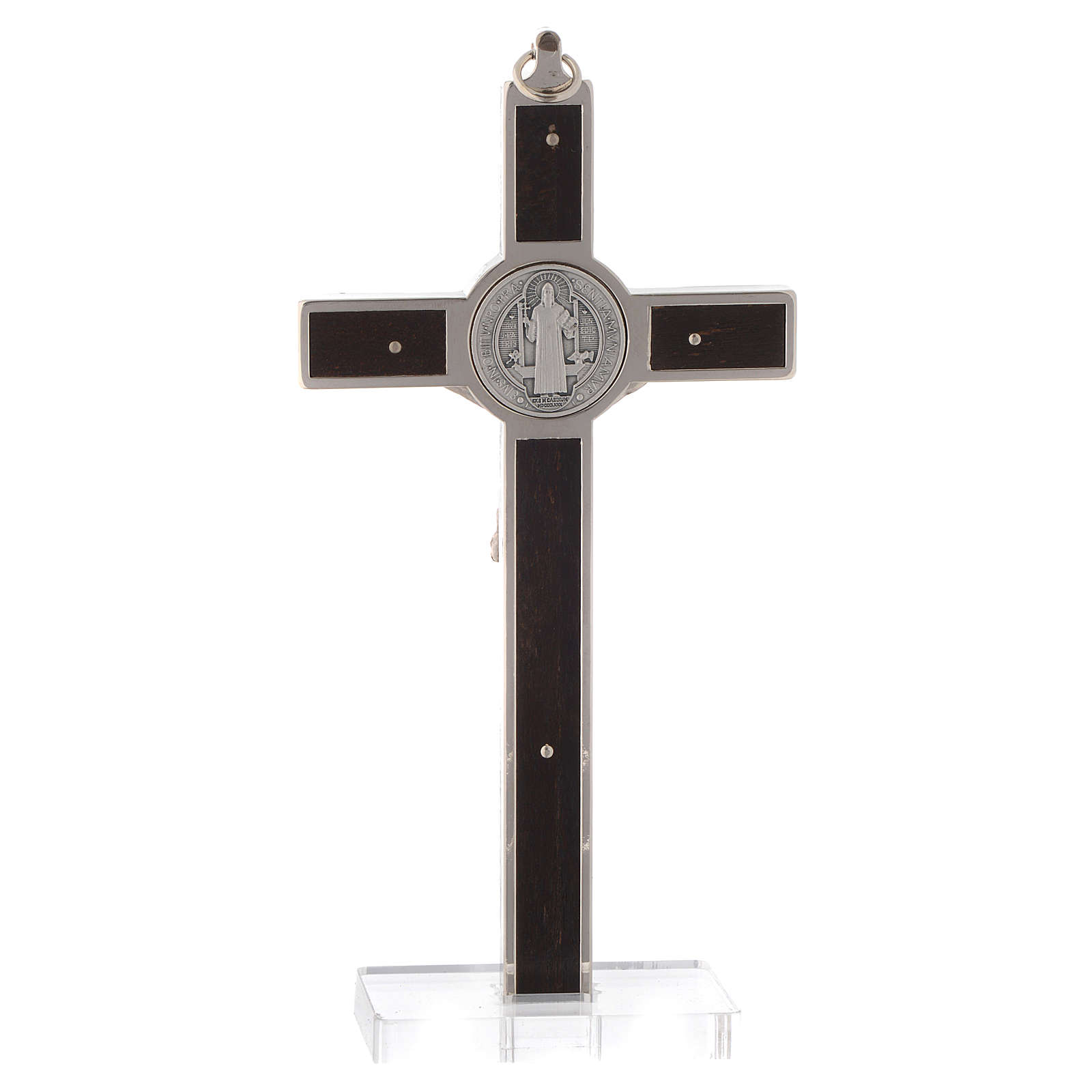 Saint Benedict cross with wood inlays and plexiglass base 4
