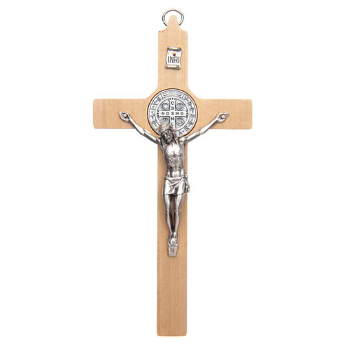 Natural wood Saint Benedict cross 1