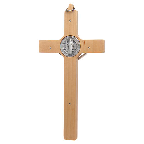 Natural wood Saint Benedict cross 2