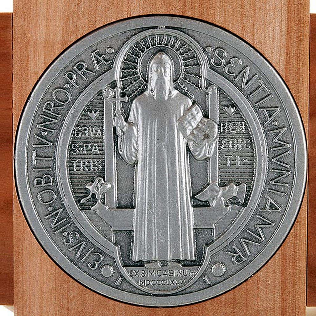 Saint Benedict cross in natural cherry wood 71 cm 4