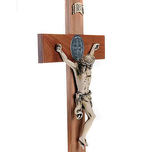Saint Benedict cross in natural cherry wood 71 cm 2