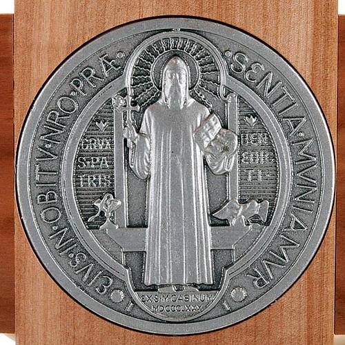 Saint Benedict cross in natural cherry wood 71 cm 3