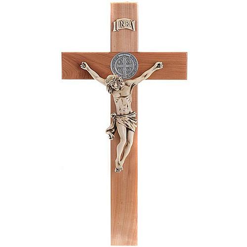 croix Saint Benoit bois de cerisier 71 cm 1