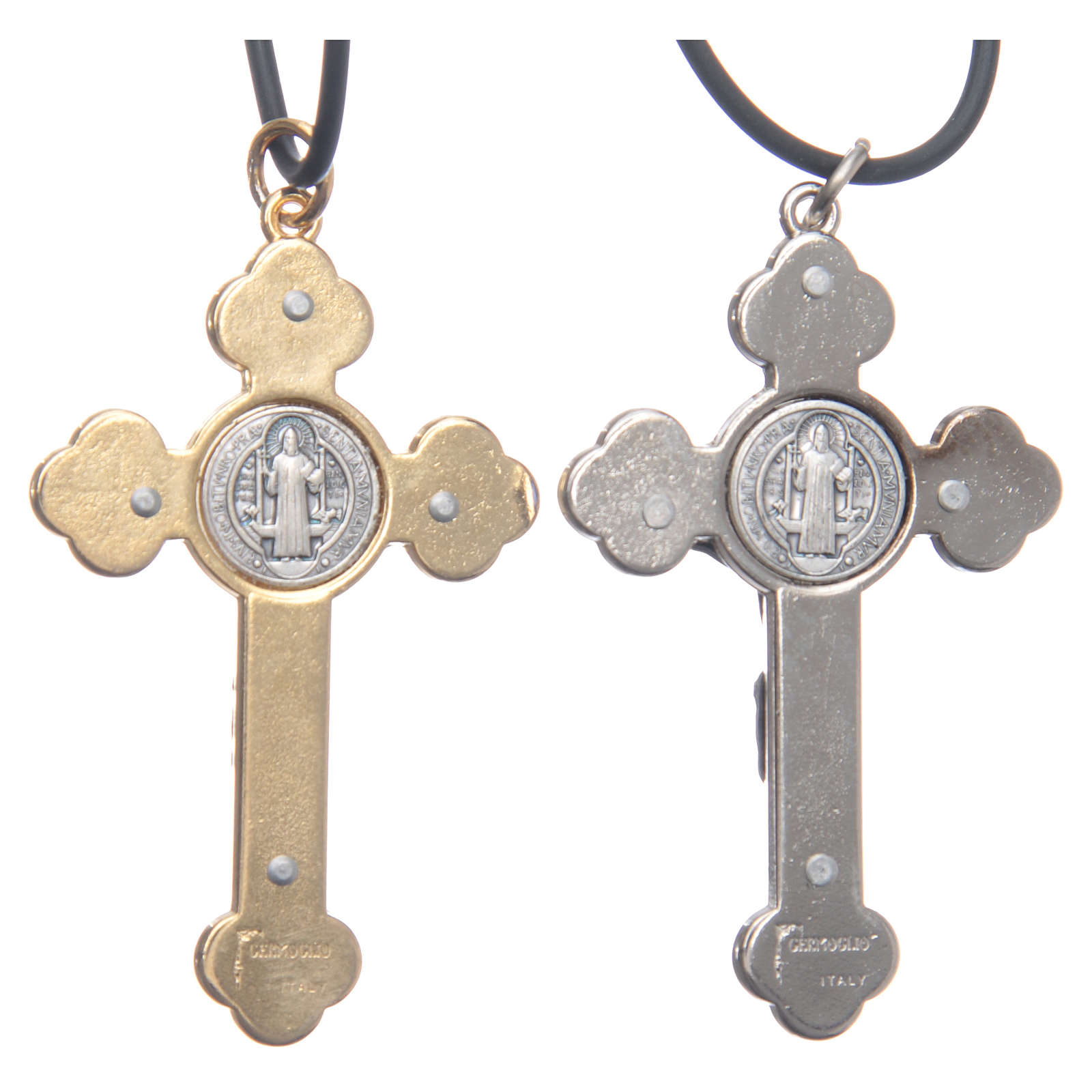 Collar cruz San Benito gótico azul 6 x 3 4