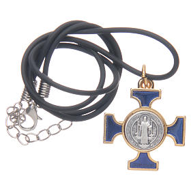Kette Kreuz Heilig Benediktus keltisch Blau 2,5x2,5 s5