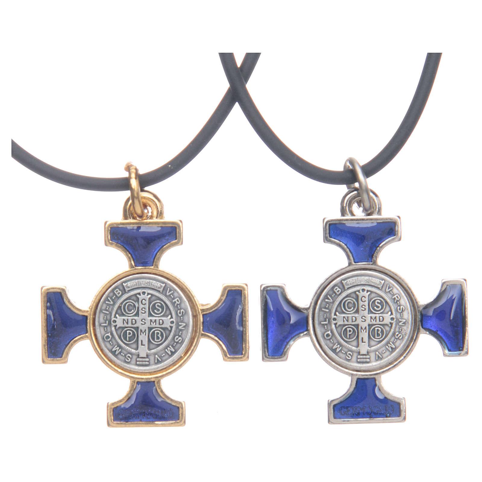 Collana croce San Benedetto celtica blu 2,5x2,5 4
