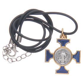Naszyjnik krzyż święty Benedykt celtycki niebieski 2,5 X 2,5 s5