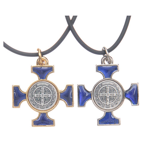 Naszyjnik krzyż święty Benedykt celtycki niebieski 2,5 X 2,5 2