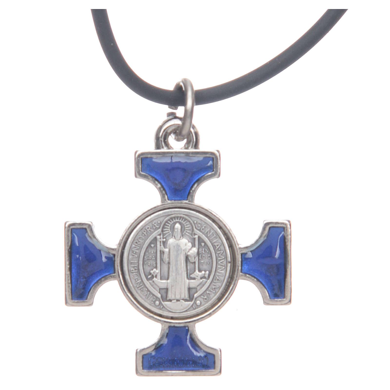 Colar cruz São Bento céltica azul escuro 2,5x2,5 cm 4