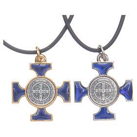 Colar cruz São Bento céltica azul escuro 2,5x2,5 cm s2