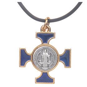 Colar cruz São Bento céltica azul escuro 2,5x2,5 cm s3