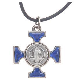 Colar cruz São Bento céltica azul escuro 2,5x2,5 cm s4