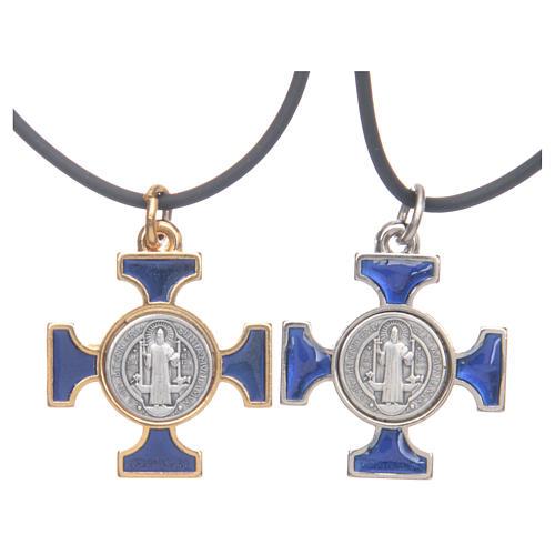Colar cruz São Bento céltica azul escuro 2,5x2,5 cm 1
